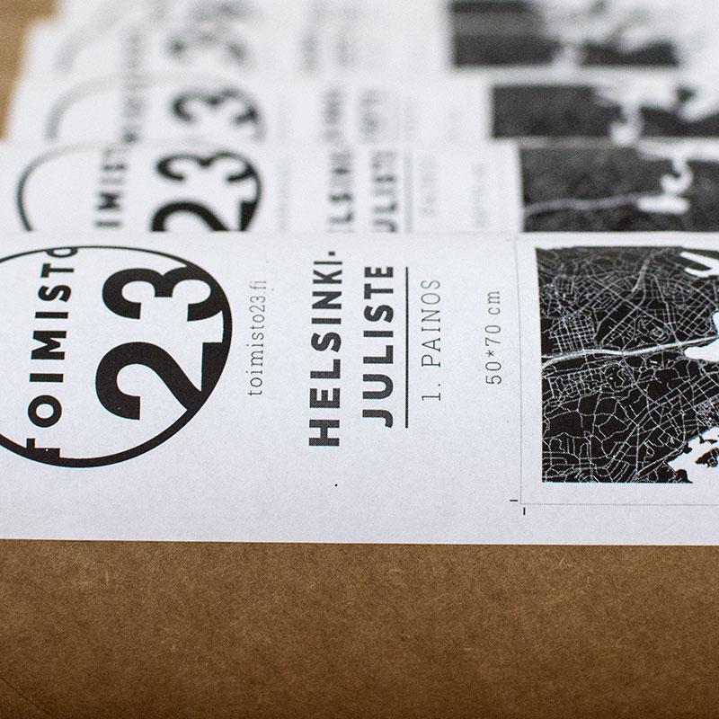 Helsinki-juliste postitusputkessa