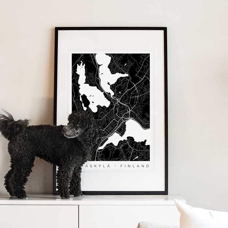 Jyväskylä-juliste ja Maisa-koira